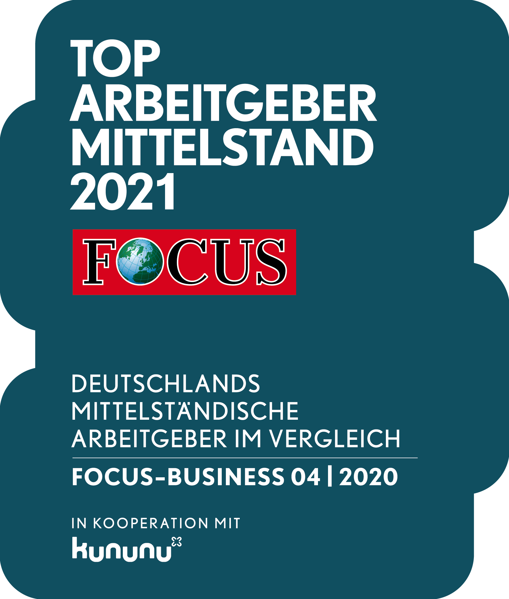 Auszeichnung Top Arbeitgeber Mittelstand 2021 Focus Business
